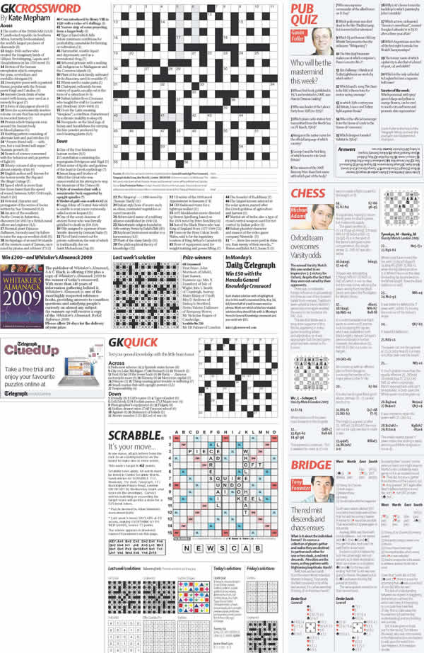 Complete page including Crossword and Sudoku